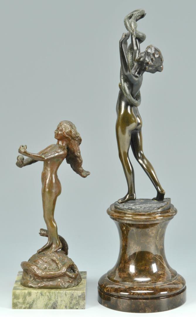 Lot 3594270: 2 Bronzes of Females & Snakes
