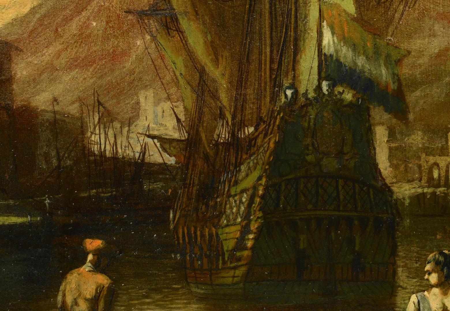 Lot 3594271: Italian School Oil on Canvas Harbor Scene