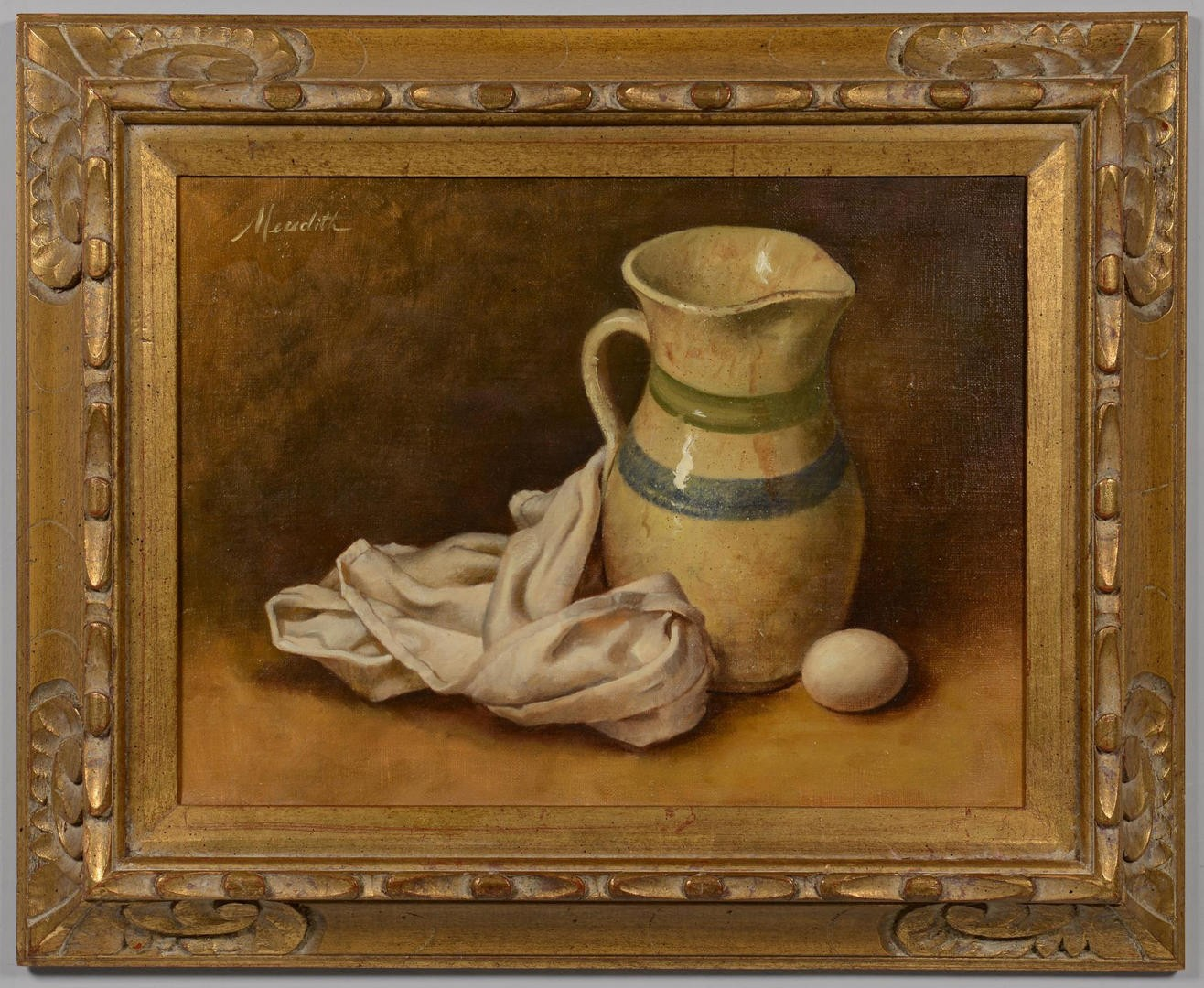 Lot 3594277: Robert Meredith, Still Life with Pitcher and Egg