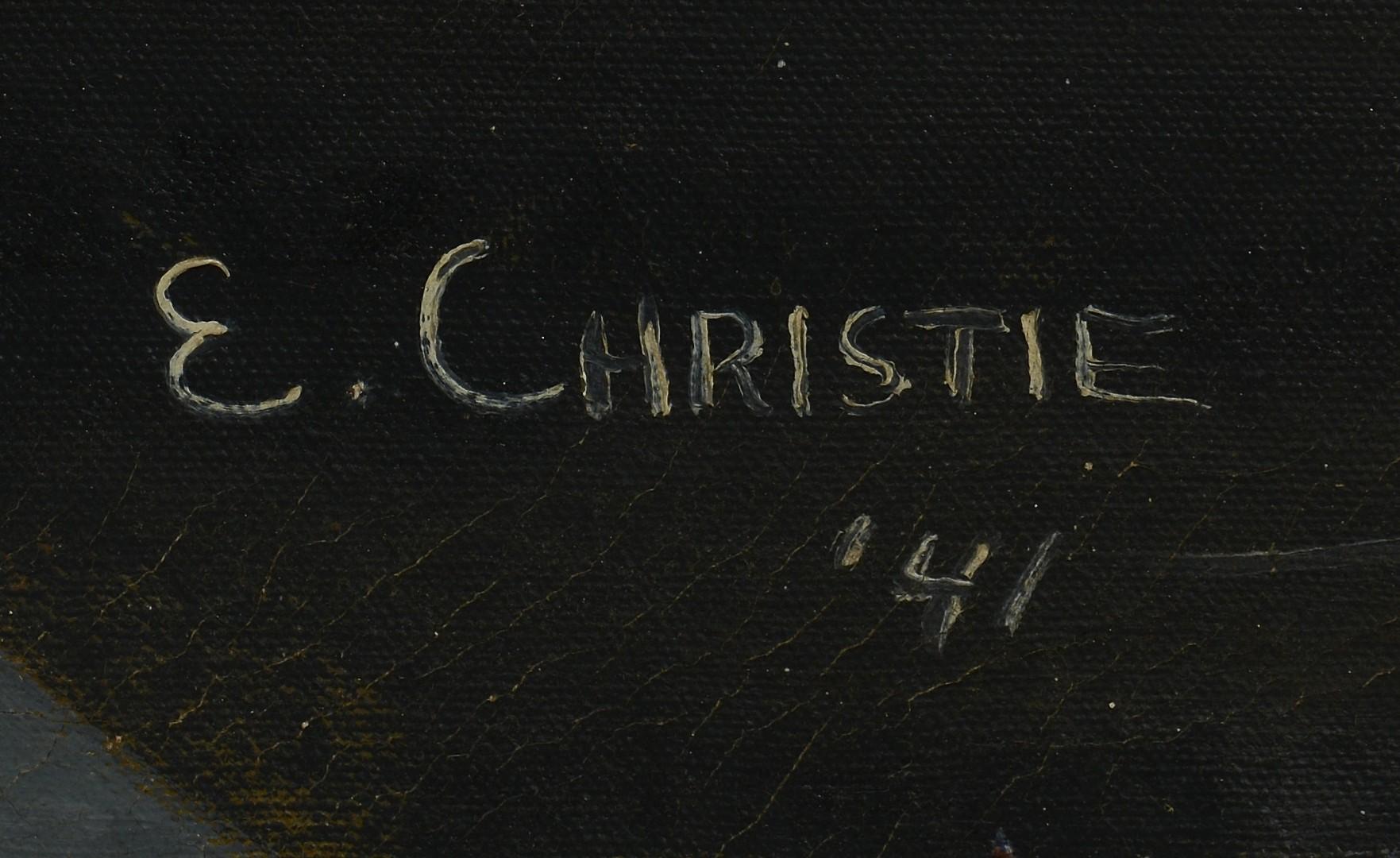 Lot 3594283: Abstract War Oil, E. Christie