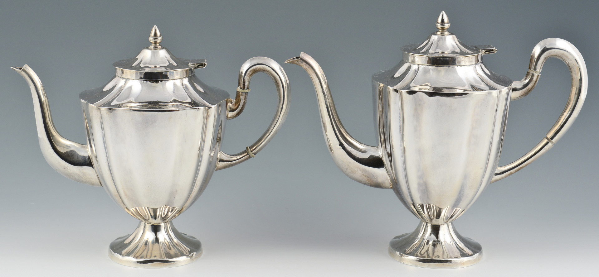 Lot 100: Maciel Sterling Tea Set w/ Sterling Tray, 6 pcs.