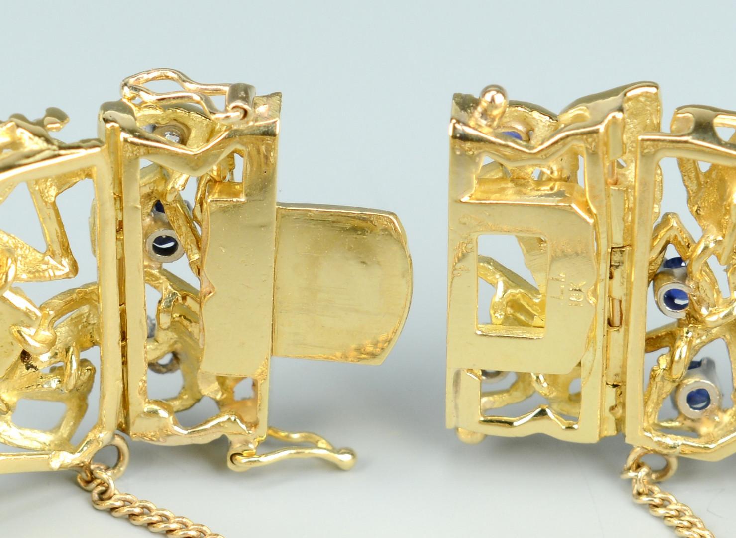 Lot 101: 18k Diamond/Sapphire Bracelet