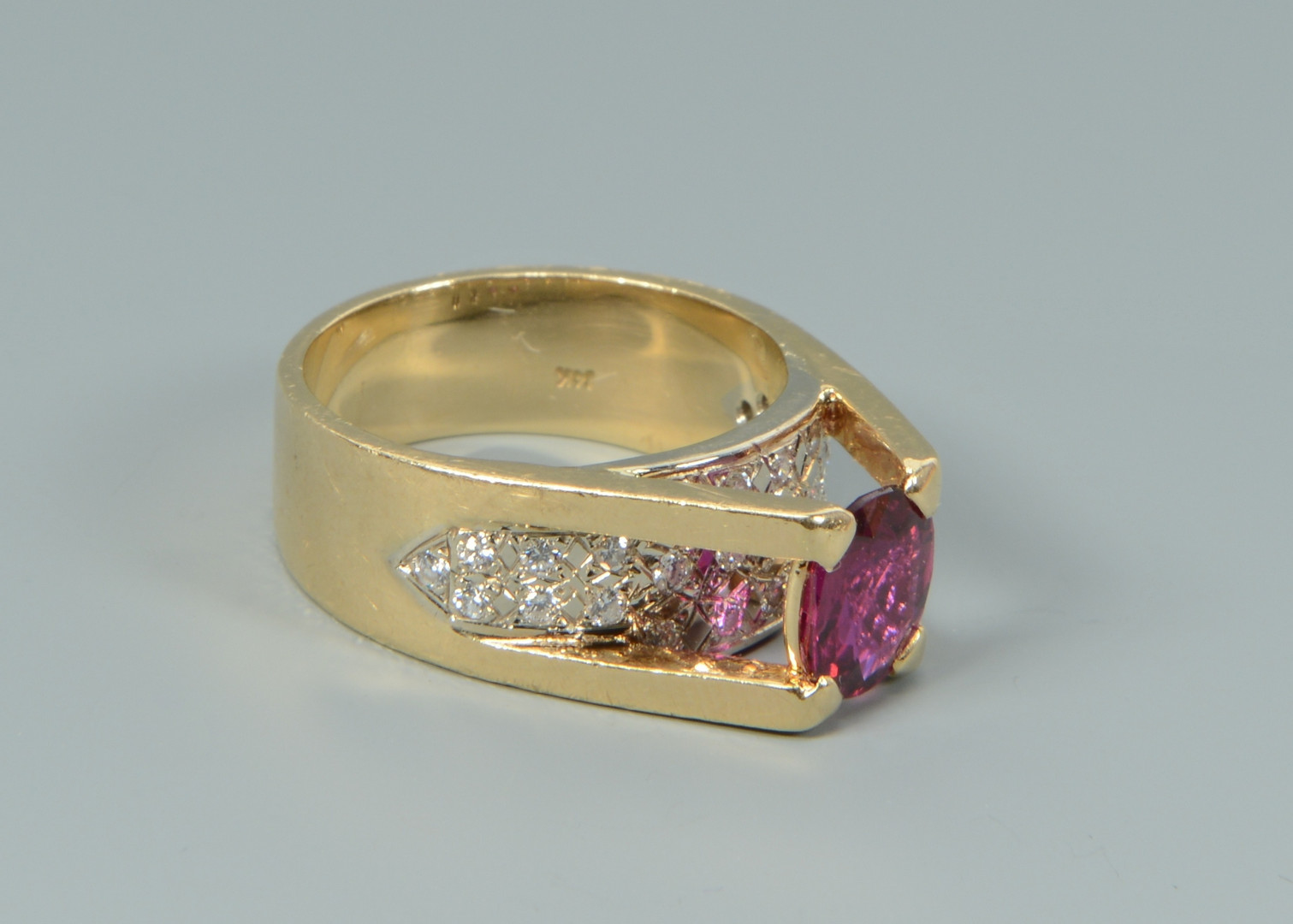 Lot 105: 14k Ruby Diamond Fashion Ring