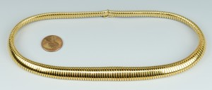 Lot 107: 18k Gold Graduated Collar Necklace, 43.4 grams