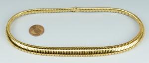 Lot 107: 18k Gold Graduated Collar Necklace, 43.4 grams