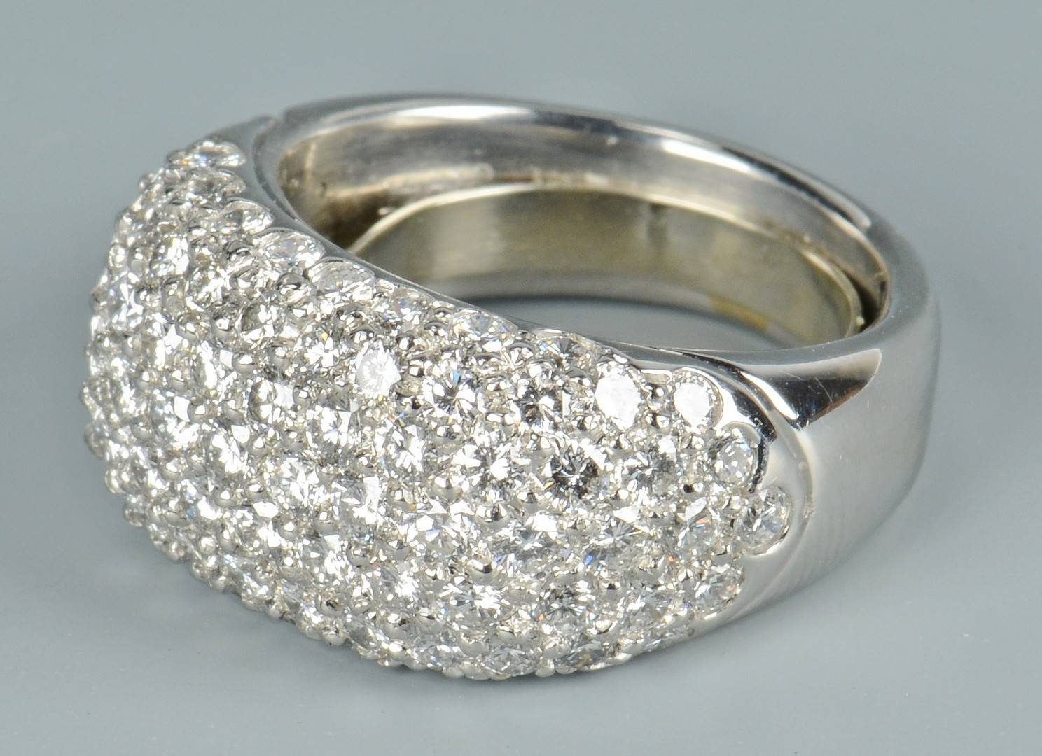Lot 108: Platinum Diamond Pave Dome Ring