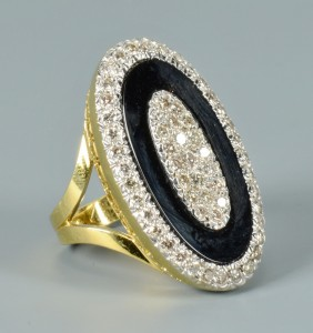 Lot 109: 18k Onyx and Diamond Ring