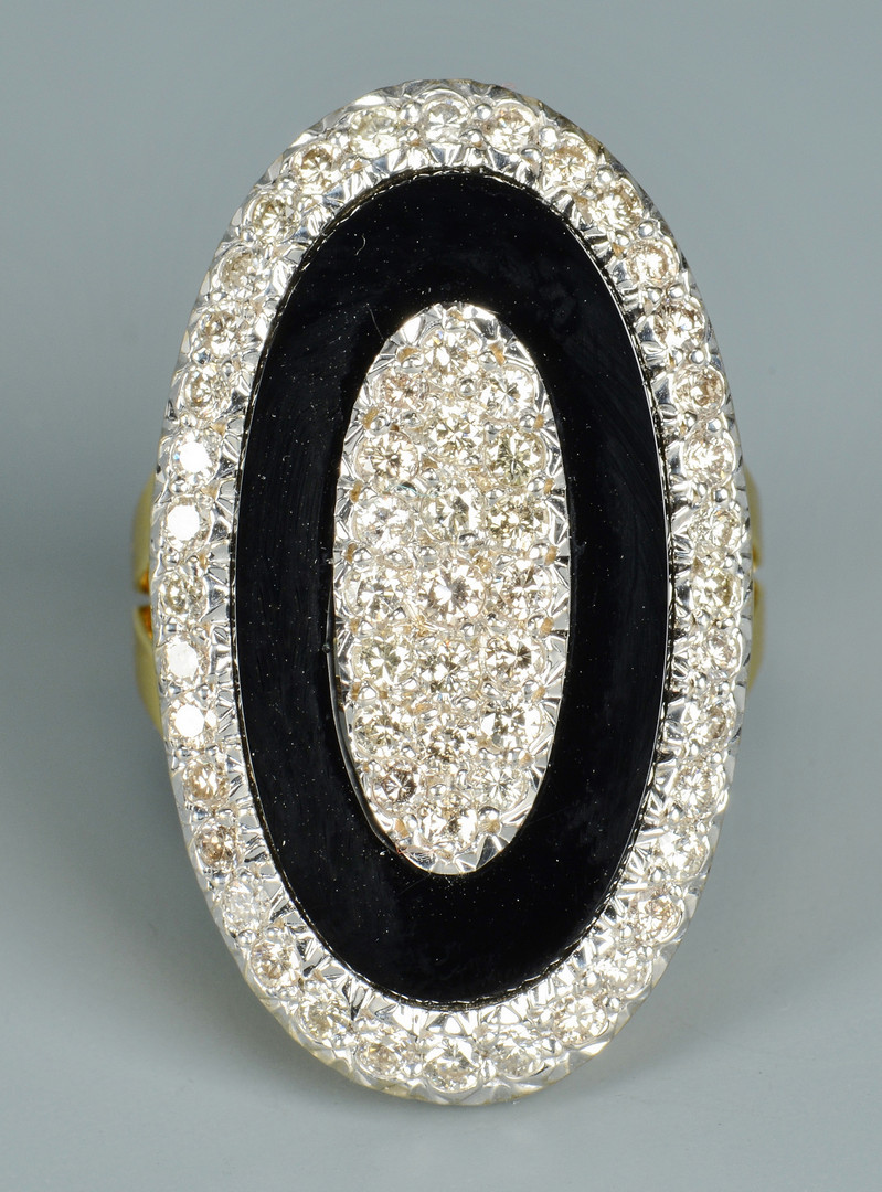 Lot 109: 18k Onyx and Diamond Ring