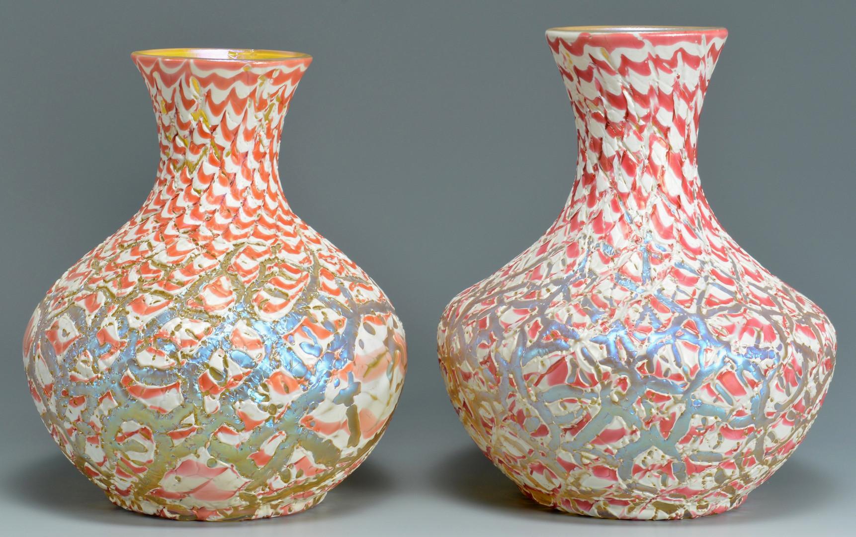 Lot 114: Durand Moorish Crackle Vases, Pr
