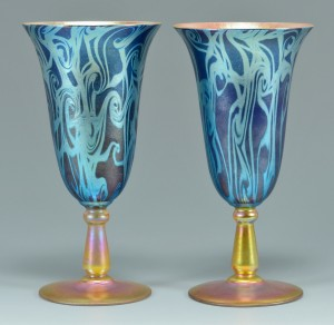 Lot 116: Pair Durand King Tut glass goblets