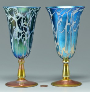 Lot 117: Pair Durand King Tut glass goblets