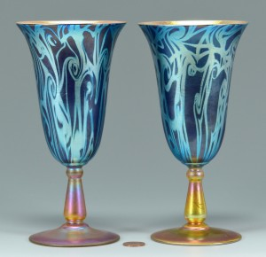 Lot 118: Pair Durand King Tut glass goblets