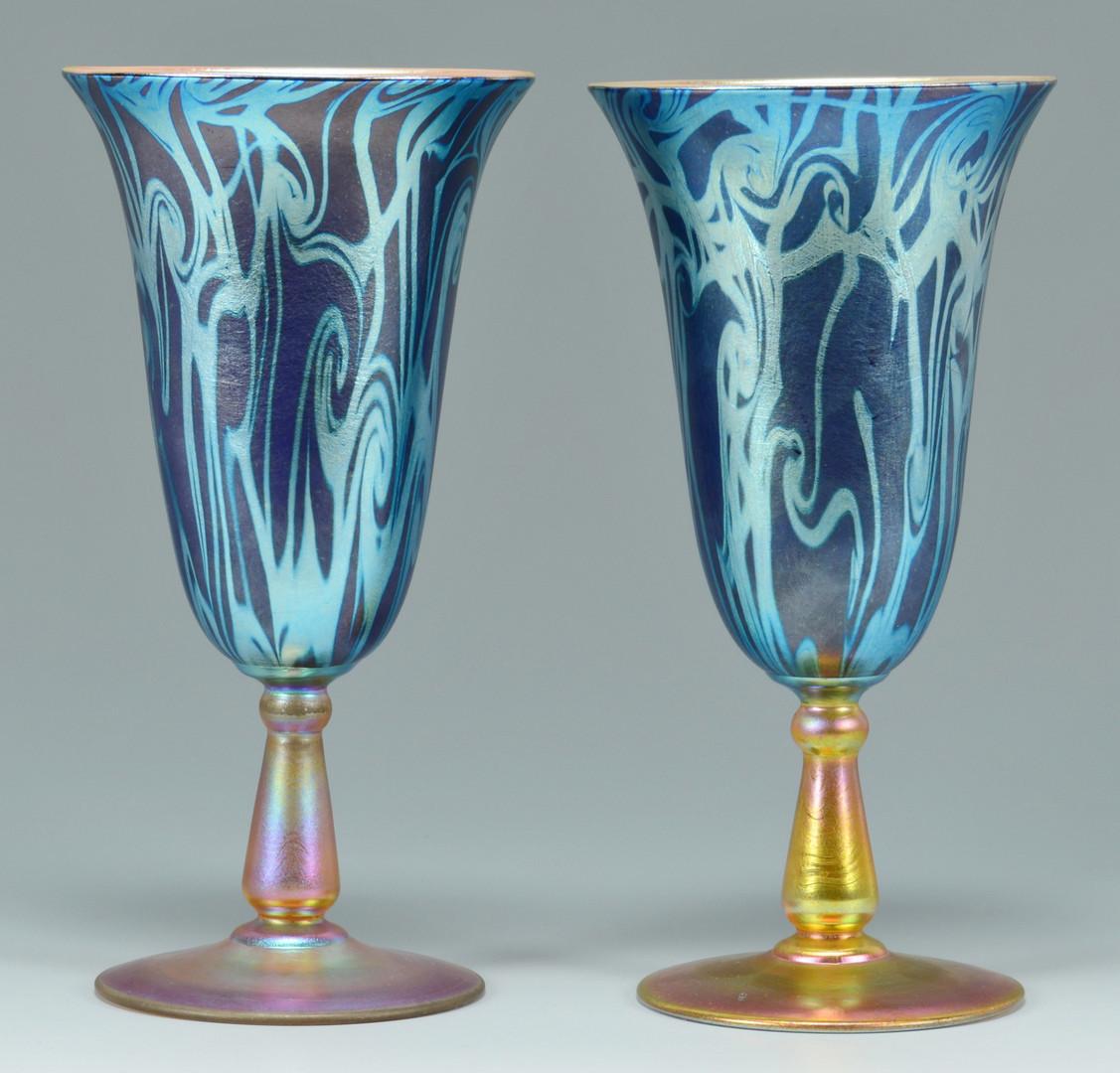 Lot 118: Pair Durand King Tut glass goblets