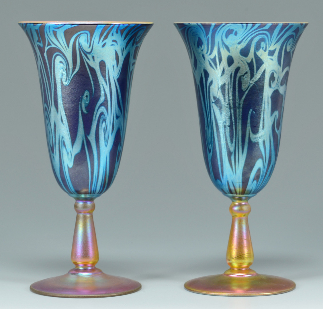 Lot 118 Pair Durand King Tut Glass Goblets