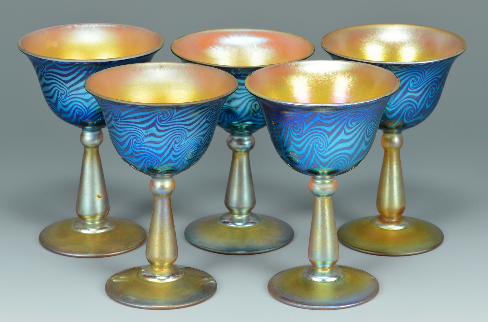 Lot 119: 5 Durand King Tut glass sherbets