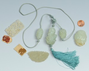 Lot 11: Jade pendant, figural necklace, 2 carvings