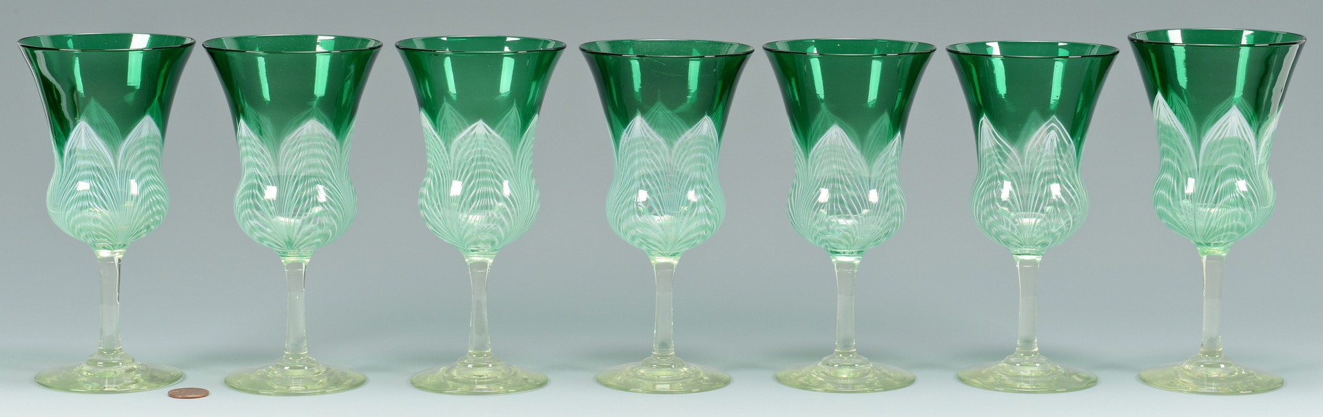 Lot 122: 7 Durand Peacock Feather Goblets