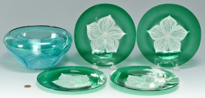 Lot 125: Durand Peacock Bowl & 4 Plates