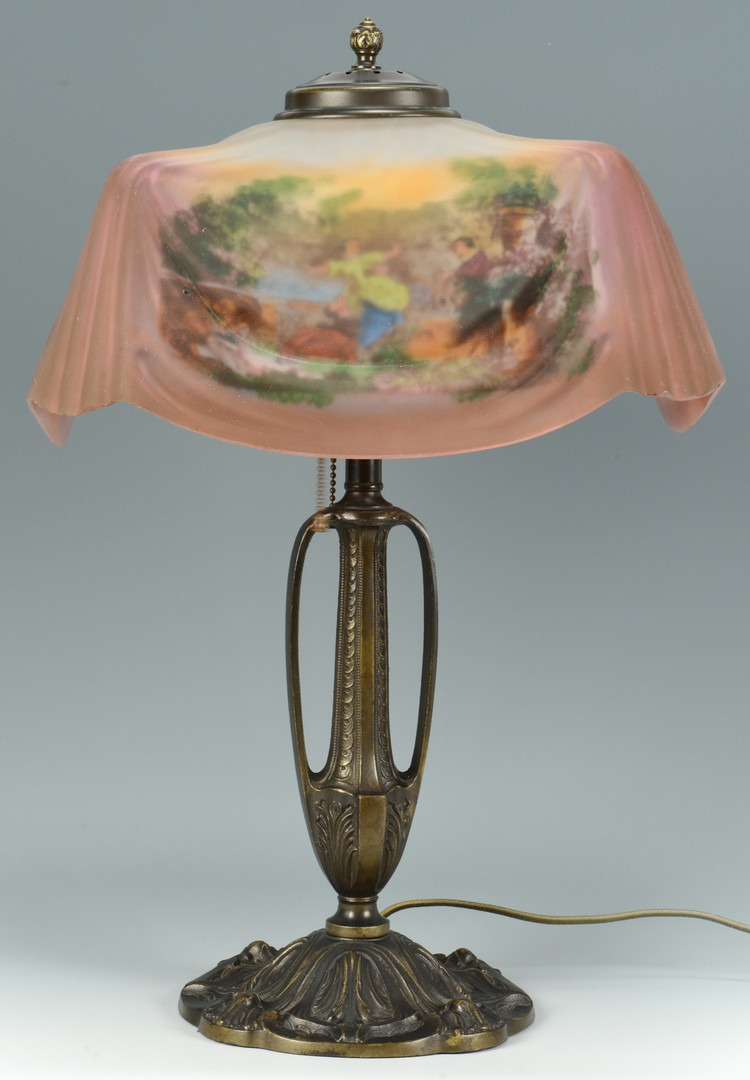 Lot 129: Pittsburgh Reverse Painted Lamp