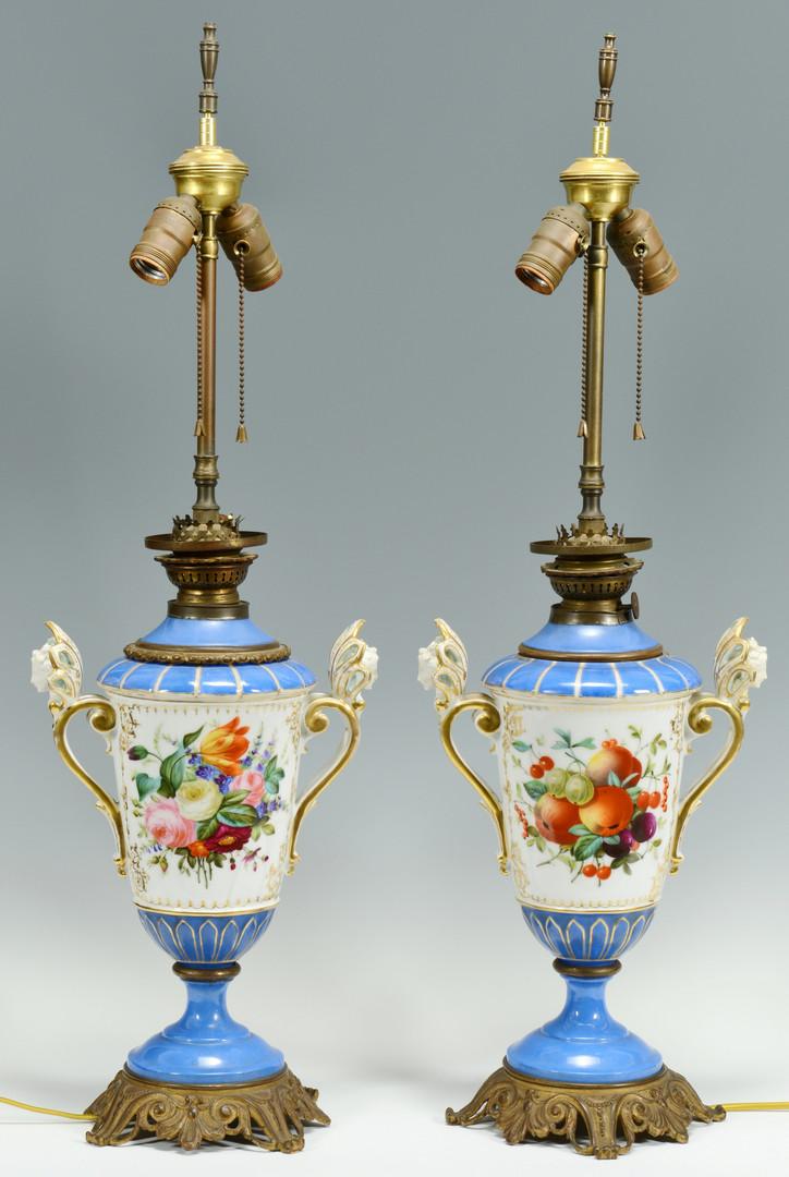Lot 133: Pr. Brass Mounted Old Paris Lamps