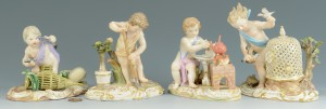 Lot 135: 4 Meissen Emblematic Figures: Air, Earth, Fire, Wa