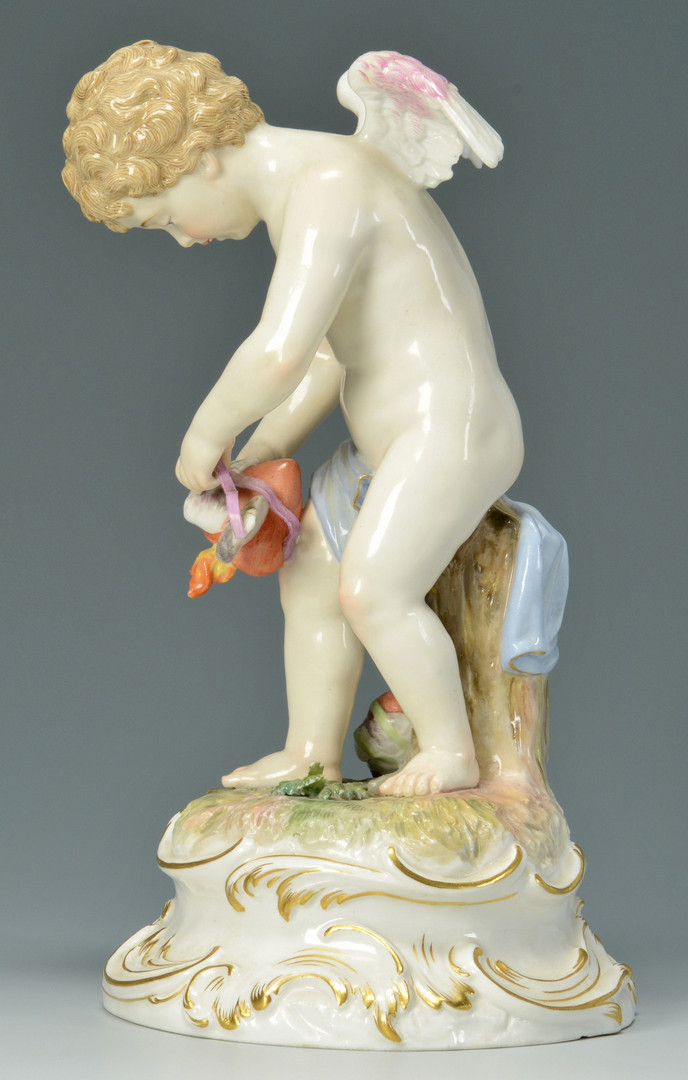 Lot 136: Meissen Figure: Cherub and Heart strings