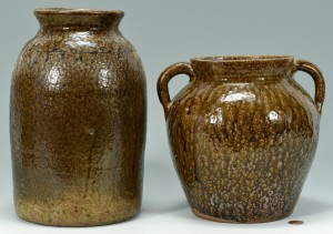 Lot 143: 2 GA Alkaline Glaze Pottery Jars