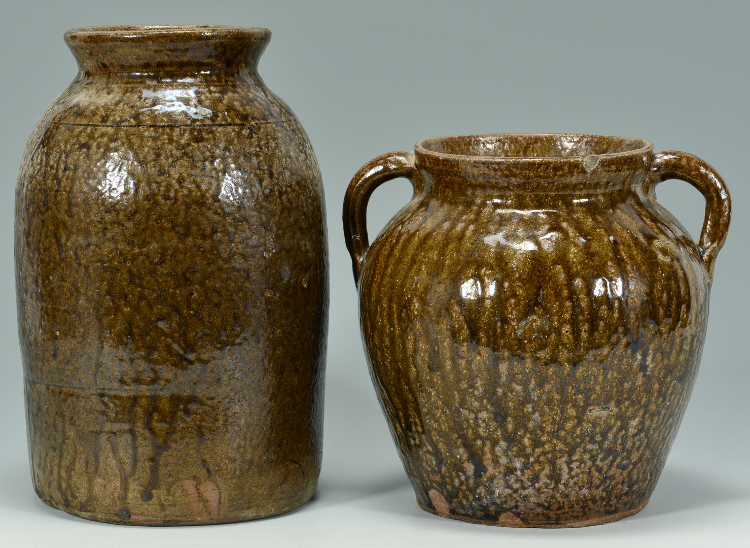 Lot 143: 2 GA Alkaline Glaze Pottery Jars