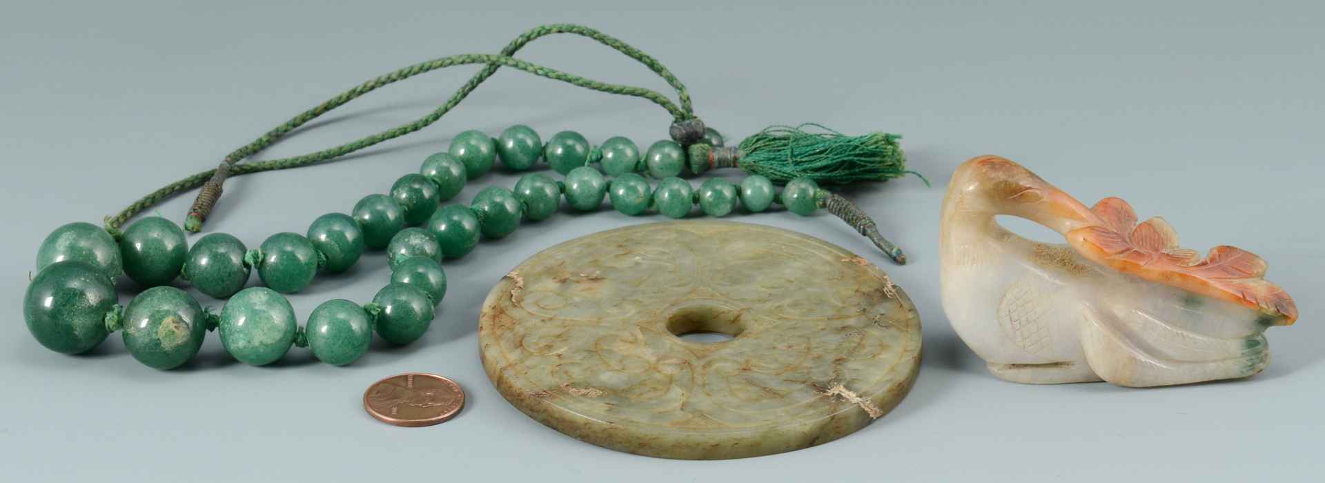 Lot 14: 3 Chinese Jade Items: Stork, Beads, Disc
