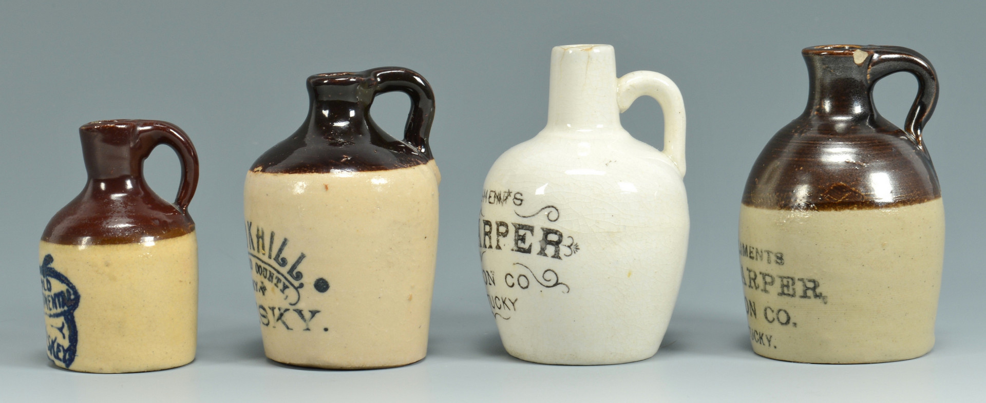 Lot 150: 4 Nelson Co. KY Whiskey Jugs