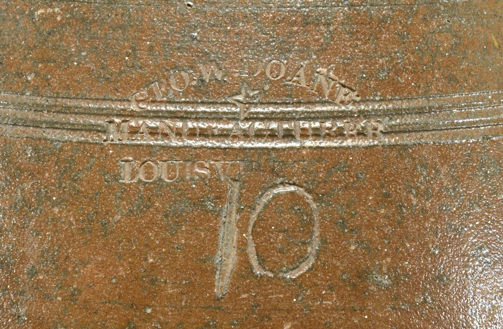 Lot 154: KY 10 Gal. Pottery Jar, George W. Doane