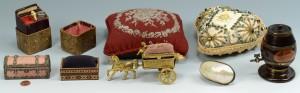 Lot 162: 8 Sewing Articles inc. figurals, pin cushions