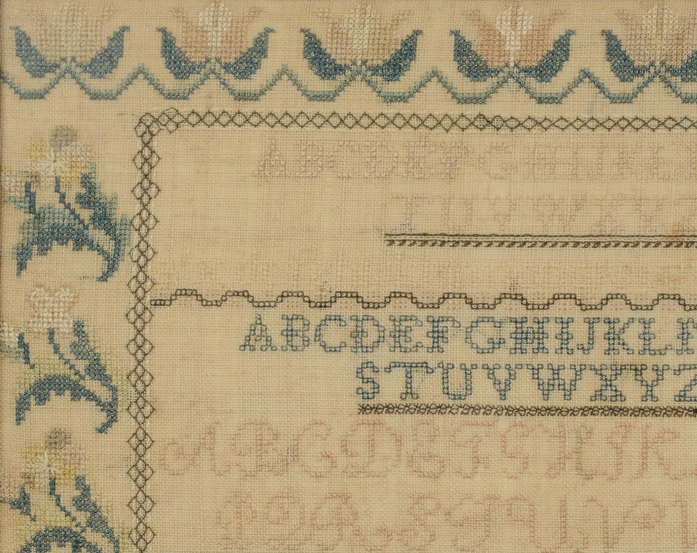Lot 165: Tennessee Needlework Sampler 1839, Roxana McGee