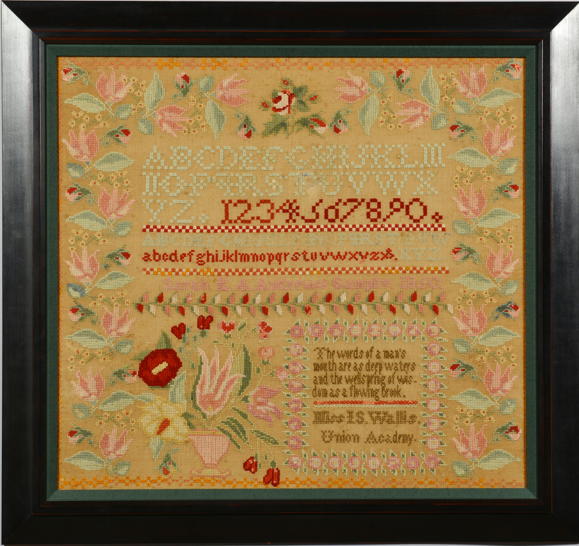 Lot 166: Tennessee Needlework Sampler 1850, Sarah Andrews