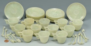 Lot 16: 12 Dragon Carved Hardstone Spoons, Cups and Saucer - Image 1