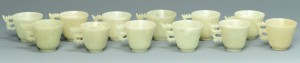 Lot 16: 12 Dragon Carved Hardstone Spoons, Cups and Saucer - Image 2