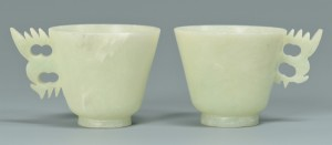 Lot 16: 12 Dragon Carved Hardstone Spoons, Cups and Saucer - Image 3