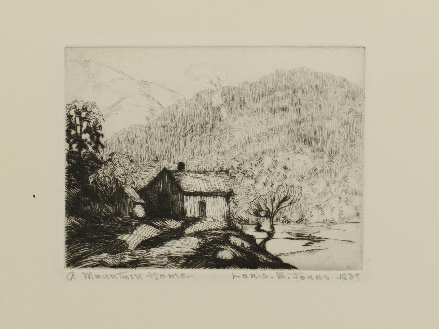 Lot 179: Louis Jones Etching, Mountain Home