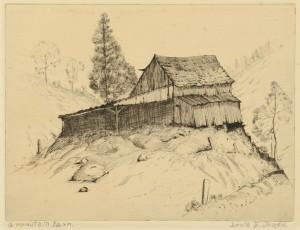 Lot 180: Louis Jones Etching, Mountain Barn