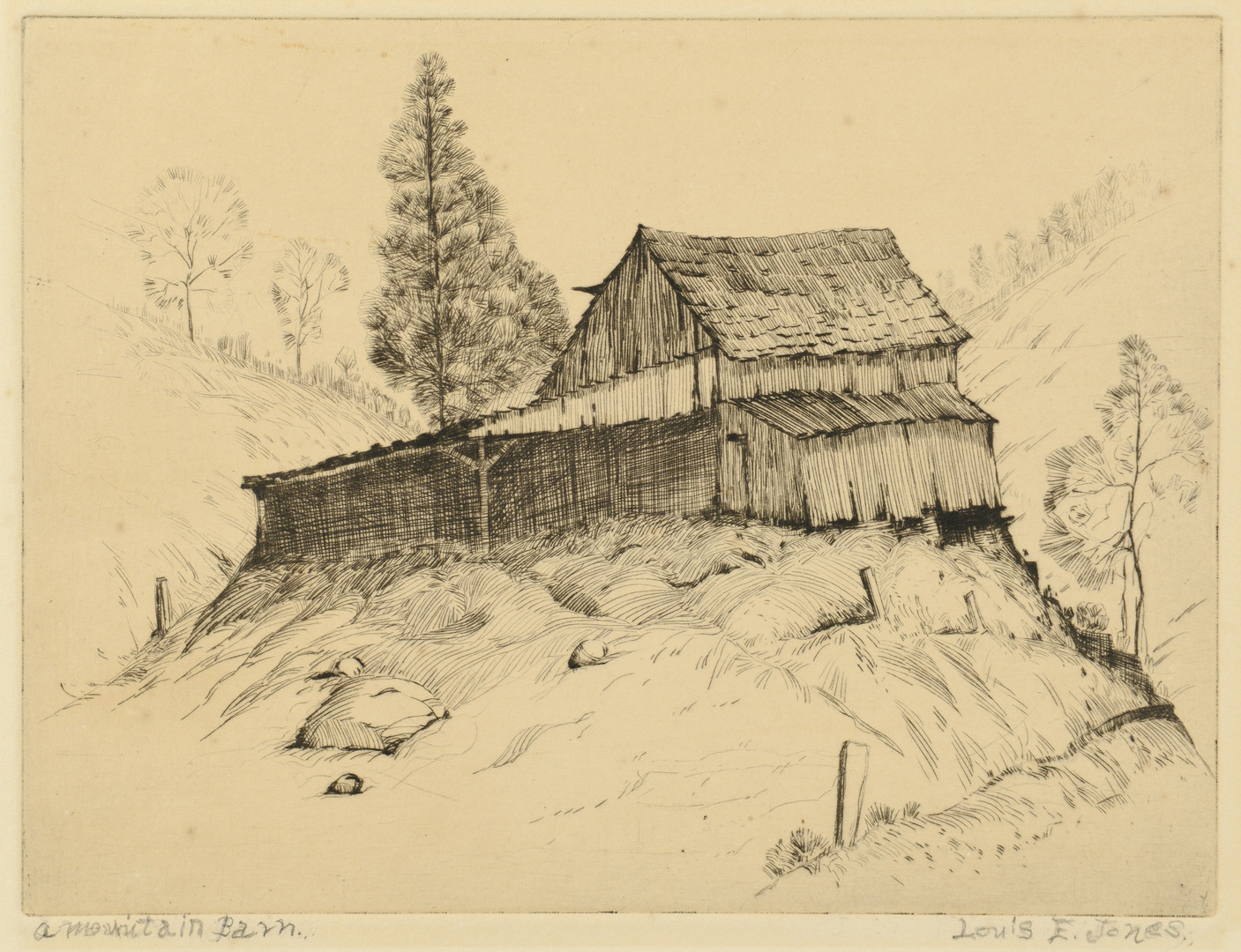 Lot 180: Louis Jones Etching, Mountain Barn
