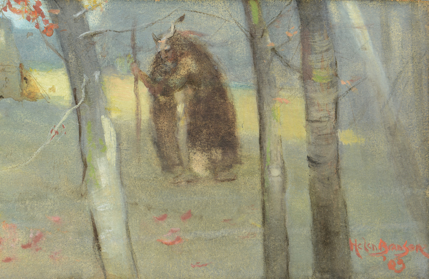 Lot 182: Lloyd Branson watercolor and pastel on board