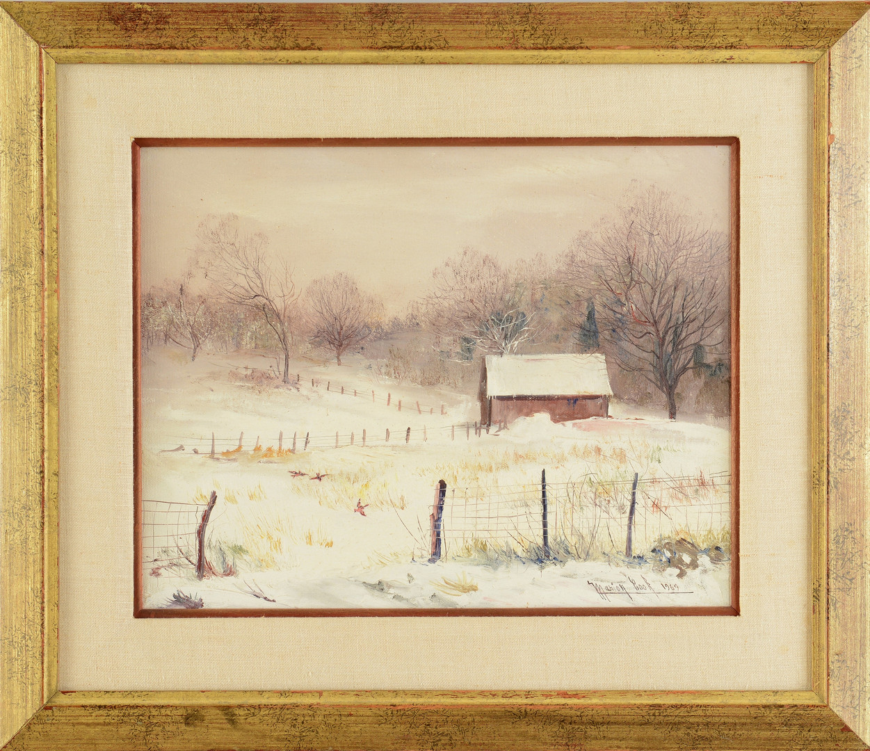 Lot 189: Marion Cook o/c, barn in snow