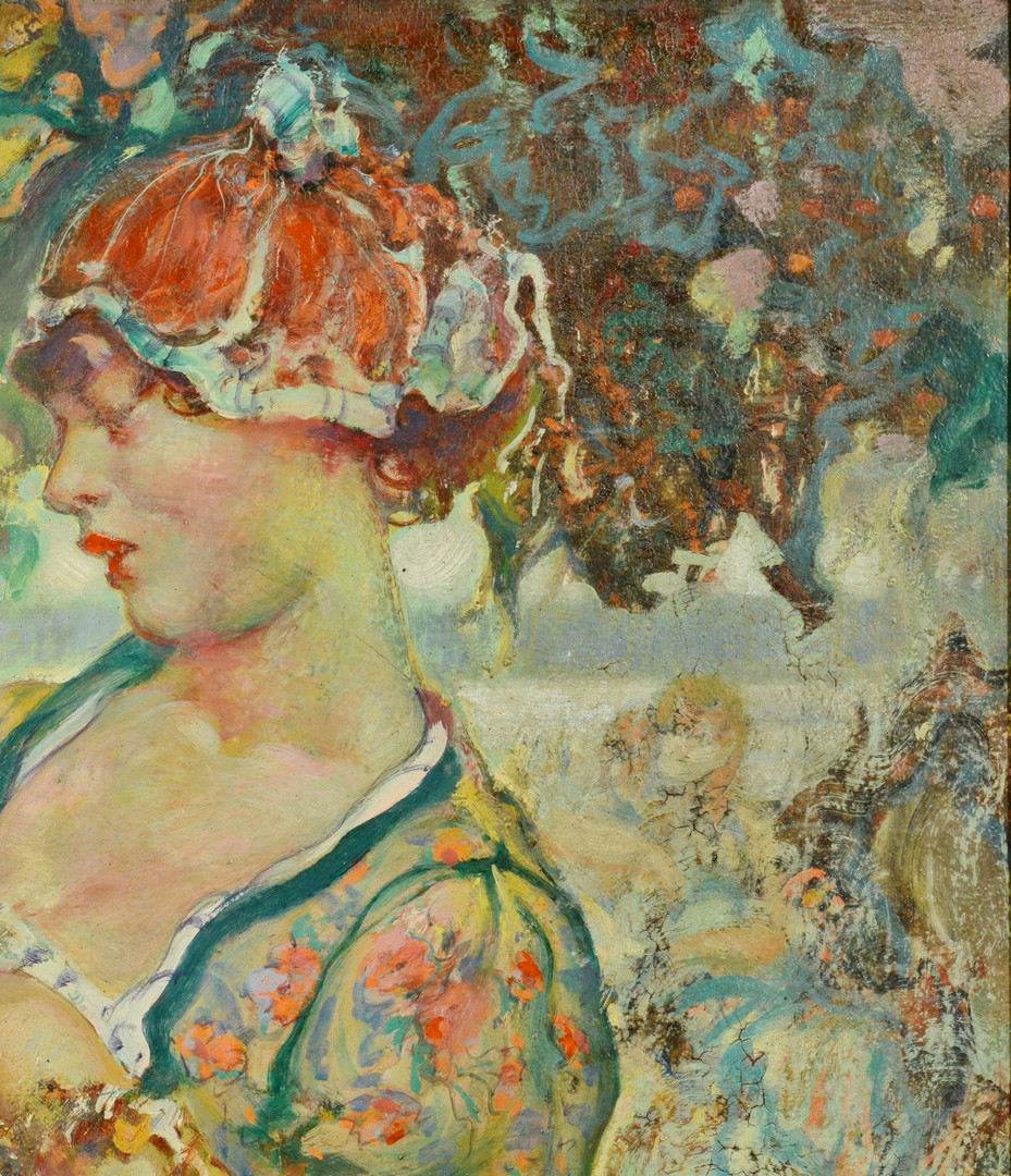 Lot 193: Fred Carpenter o/c, Lady in Garden
