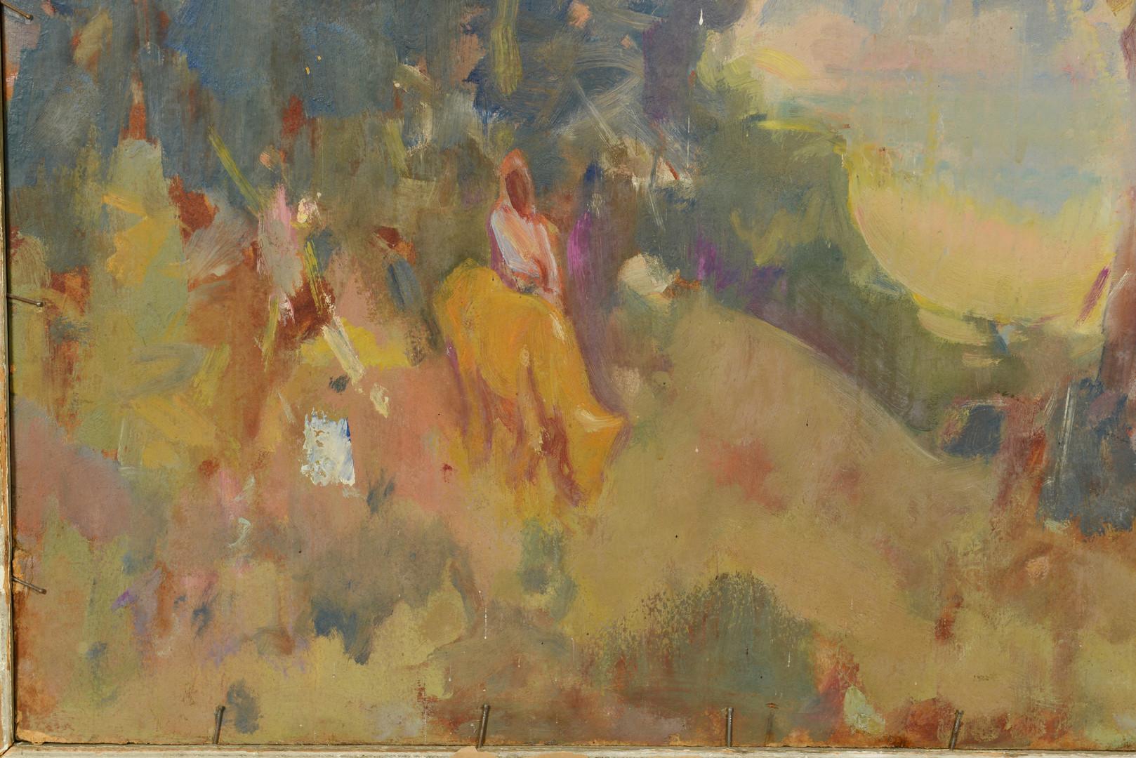 Lot 193: Fred Carpenter o/c, Lady in Garden