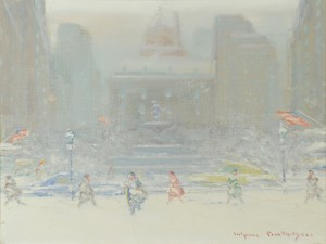 Lot 199: Johann Berthelsen o/c, NY Snow Scene
