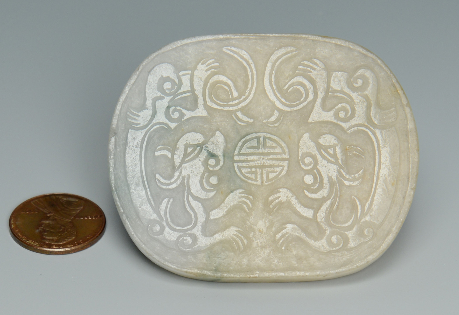 Lot 1: Chinese White Jade Table Screen + Buckle