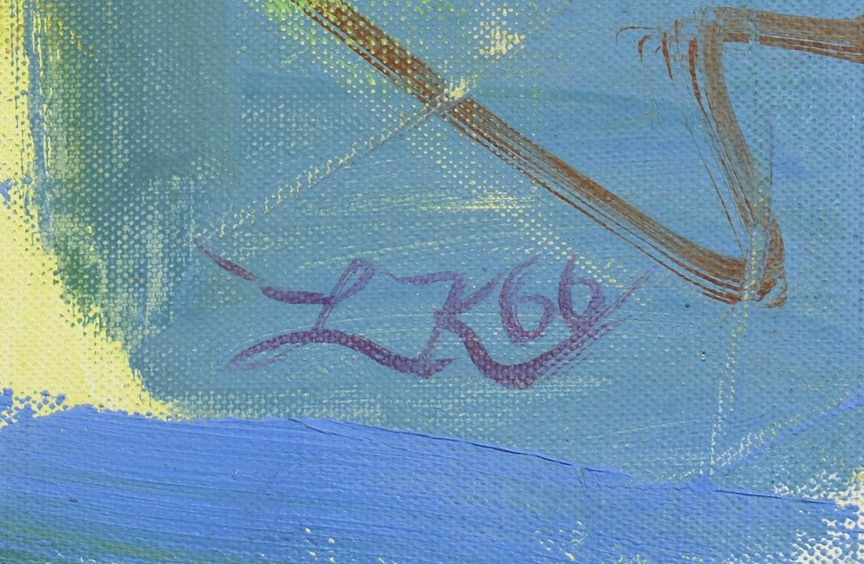 Lot 202: Lillian Kiesler oil on canvas, Passion Flowers