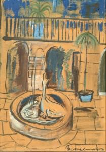 Lot 204: Ludwig Bemelmans Gouache, Duck Fountain