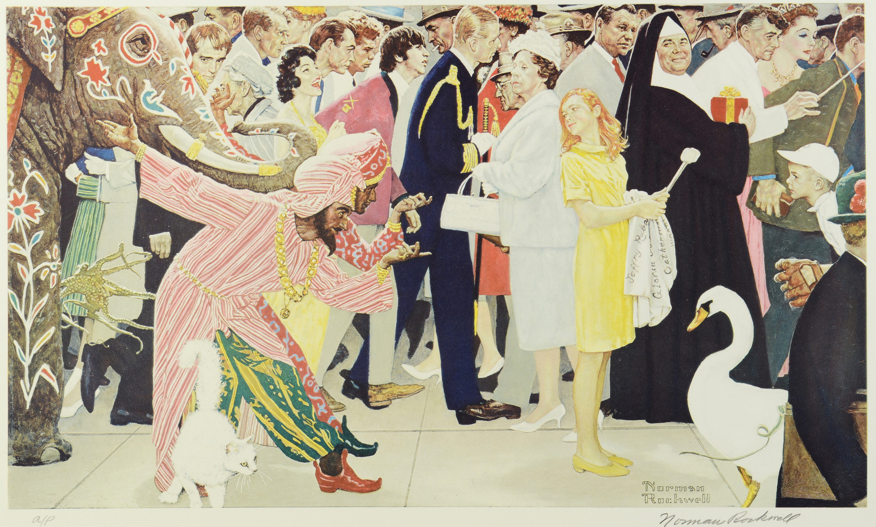 Lot 205: Rockwell Lithograph, Saturday People