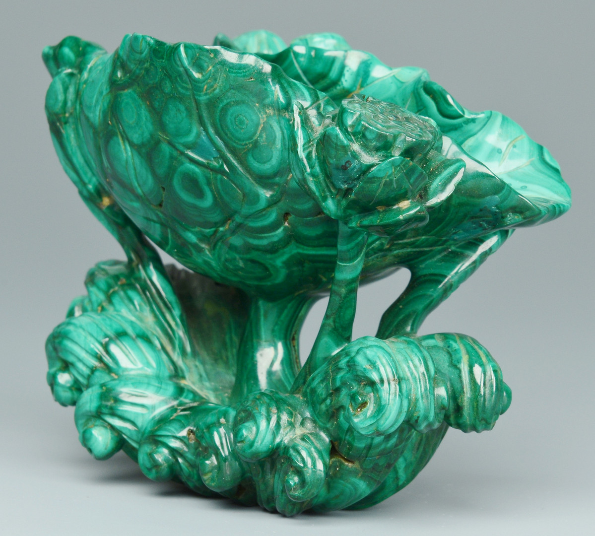 Lot 20: Malachite Libation Cup w/ Frog & Floral Carving